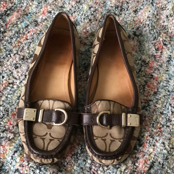 8dac397fc93 COACH Khaki Flores Buckle Driving Loafers